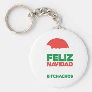 Feliz Navidad Bitchachos Basic Round Button Key Ring