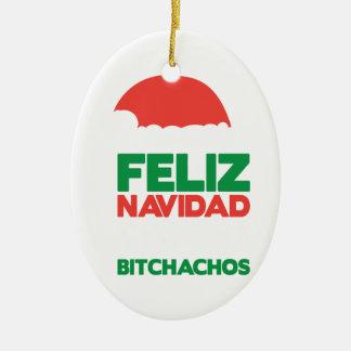 Feliz Navidad Bitchachos Ceramic Oval Decoration