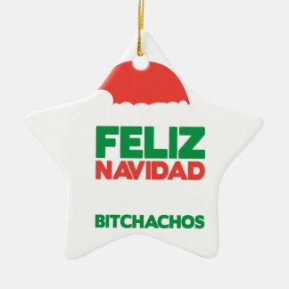 Feliz Navidad Bitchachos Ceramic Star Decoration