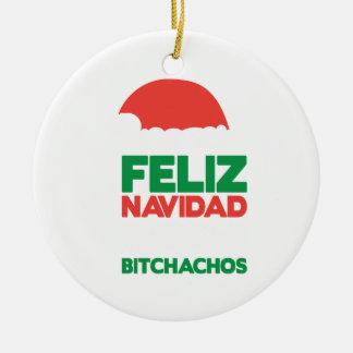 Feliz Navidad Bitchachos Round Ceramic Decoration