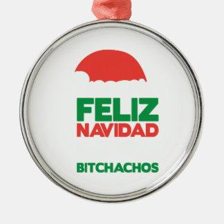 Feliz Navidad Bitchachos Silver-Colored Round Decoration
