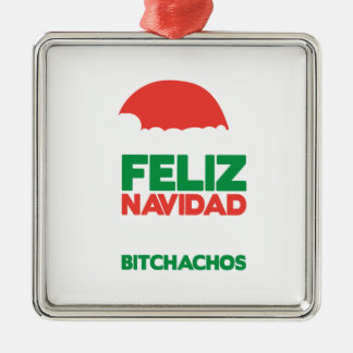 Feliz Navidad Bitchachos Silver-Colored Square Decoration
