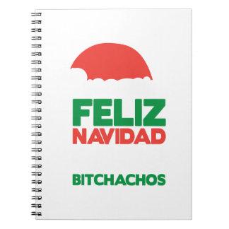 Feliz Navidad Bitchachos Spiral Notebooks
