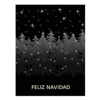 Feliz Navidad Black Night Sky Stars Gold Silver Postcard