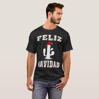 Feliz Navidad Cactus With Santa Hat Christmas T-Shirt
