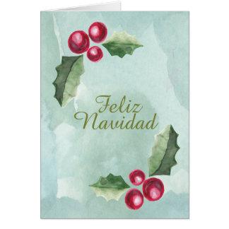 Feliz Navidad Christmas Holly Berry Watercolor Greeting Card