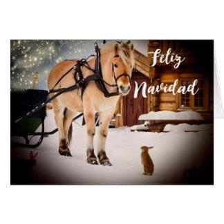 Feliz Navidad Christmas night farm  with horse Card