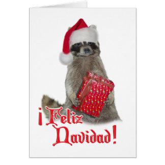 Feliz Navidad - Christmas Raccoon Bandit Card
