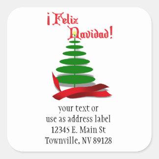 Feliz Navidad - Christmas Tree with Red Ribbon Square Sticker
