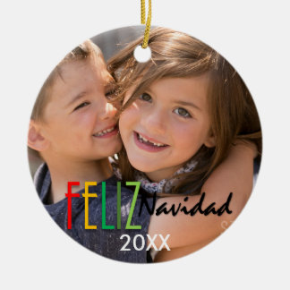 Feliz Navidad Colorful Photo Christmas Ornament