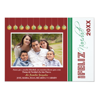 Feliz Navidad Custom Family Holiday Card (red)
