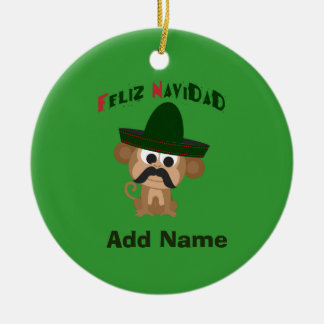 Feliz Navidad! Cute monkey Ceramic Ornament