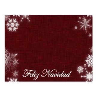 Feliz Navidad Dark Red And White Postcard