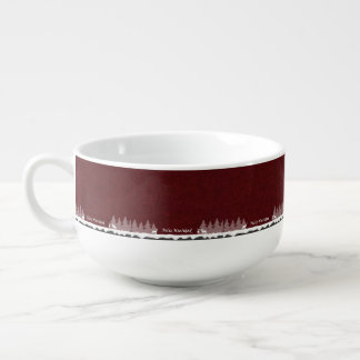 Feliz Navidad Dark Red And White Soup Bowl With Handle