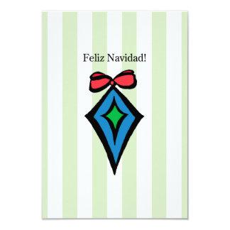 Feliz Navidad Diamond Ornament 3.5x5 Invite GR