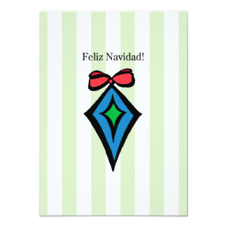 Feliz Navidad Diamond Ornament 4.5x6.25 Invitation