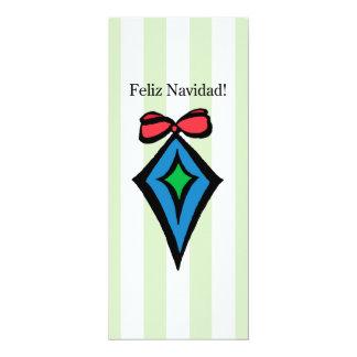 Feliz Navidad Diamond Ornament 4x9.25 Invitation