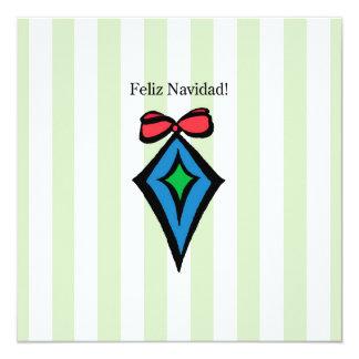 Feliz Navidad Diamond Ornament 5.25x5.25 Invite GR