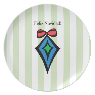 Feliz Navidad Diamond Ornament Melamine Plate GR