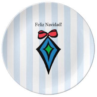 Feliz Navidad Diamond Ornament Porcelain Plate BL