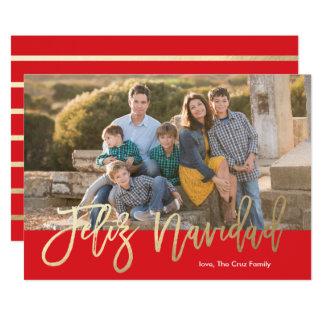 Feliz Navidad Faux Foil Calligraphy Christmas Card
