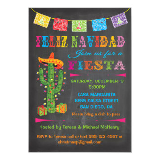 Feliz navidad Fiesta Cactus on Chalkboard 13 Cm X 18 Cm Invitation Card