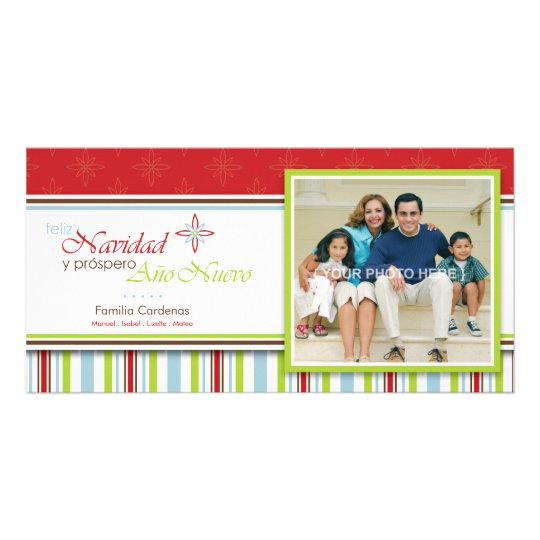 Feliz Navidad (Flor) Custom Photo Card