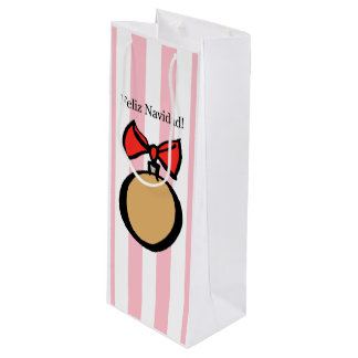 Feliz Navidad Gold Ornament Wine Bag Pink