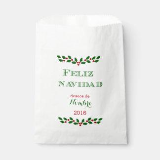 Feliz Navidad- Green-favor bag -Customize Favour Bags