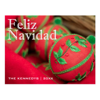 Feliz Navidad - Green/Red Ornament Decoration Postcard