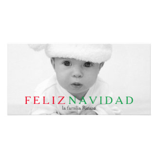 Feliz Navidad Green Red Typography Christmas Card