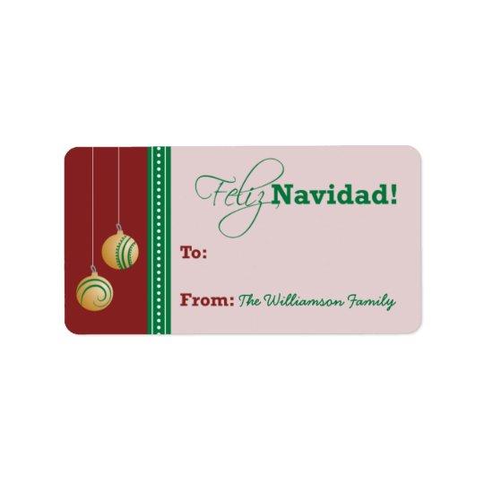 Feliz Navidad Holiday Gift Tag (red) Address Label