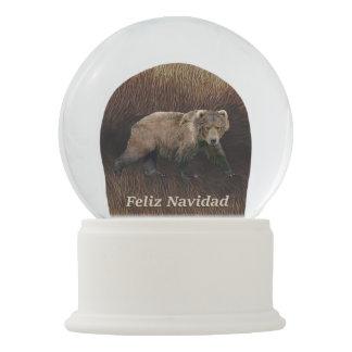 Feliz Navidad - Kodiak Bear On Caribou Fur Snow Globe