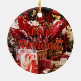 ¡Feliz Navidad! Merry Christmas in Spanish rf Round Ceramic Decoration