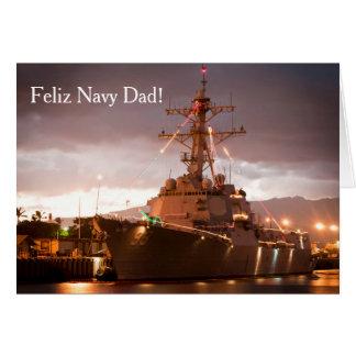 Feliz Navidad Navy Dad & Family Christmas Card