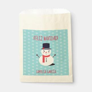 """""""Feliz Navidad"""" Party Favor Bag with Snowman"""