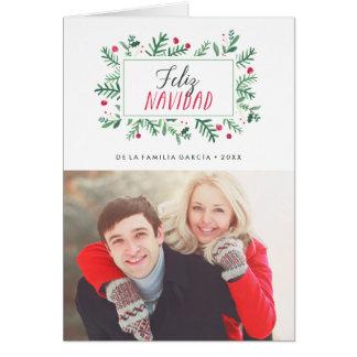 Feliz Navidad Pintado Follaje | Tarjeta de Navidad Card