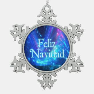 Feliz Navidad - Qaanaaq - Northern Lights Pewter Snowflake Decoration