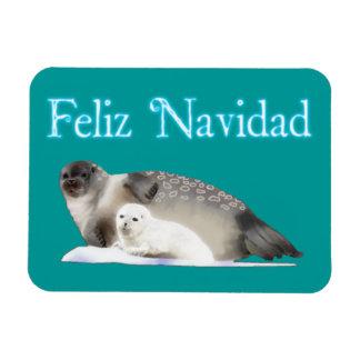 Feliz Navidad - Ringed Seal Rectangular Photo Magnet
