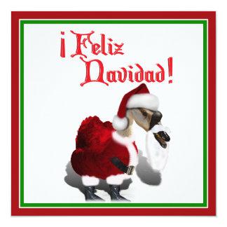 Feliz Navidad - Silly Santa Goose 13 Cm X 13 Cm Square Invitation Card
