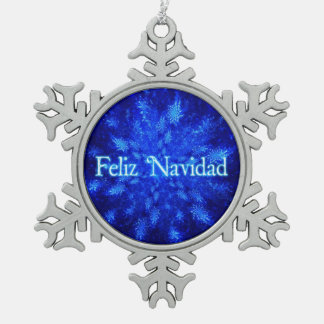 Feliz Navidad - Snowburst Pewter Snowflake Decoration