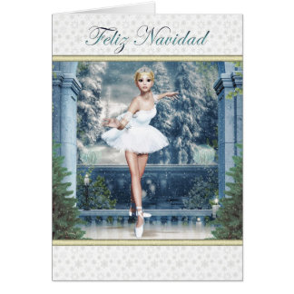 Feliz Navidad Spanish Christmas Ballerina Card