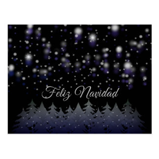 Feliz Navidad Spanish Christmas Starry Night Snow Postcard