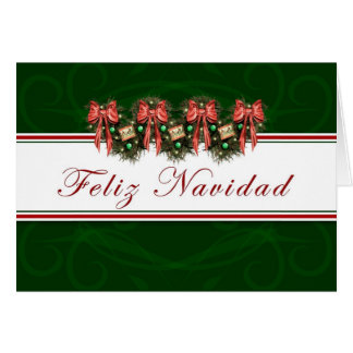 Feliz Navidad - Spanish Garland Red Bows Card