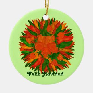 Feliz Navidad Sunny Peppers Double-Sided Ceramic Round Christmas Ornament