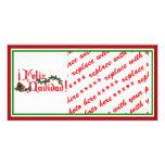 Feliz Navidad Text Design with Pine Cones Photo Card