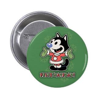 Feliz Navidad the Cat Button