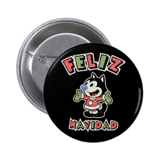 Feliz Navidad the Cat II Pinback Buttons