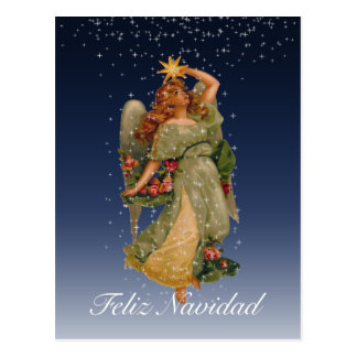 Feliz Navidad Vintage Angel Stars Night Sky Postcard