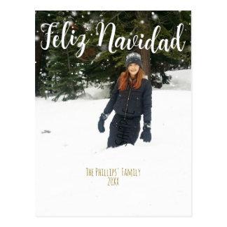 FELIZ NAVIDAD White Type Custom Holiday Photo Postcard